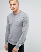 Armani Jeans Sweater With Crew Neck With Eagle Logo In Gray