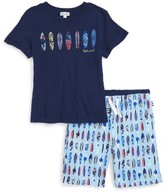 Splendid Boy's Surfboard Graphic T-Shirt And Shorts Set