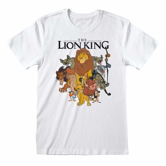 Popgear Disney The Lion King Distressed Group Sketch Women's Boyfriend Fit T-Shirt White M | S-XXL Loose Baggy Oversized Crew Neck Graphic Top Birthday Gift Idea for Ladies for Home or Gym
