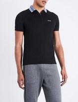 BOSS GREEN Contrast-collar cotton-blend polo shirt