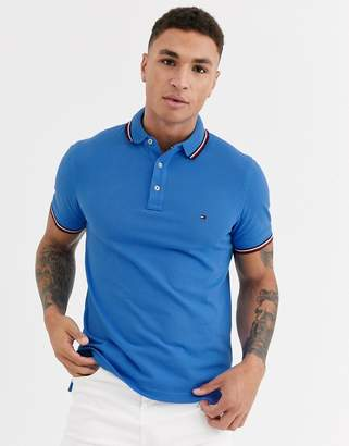 Tommy Hilfiger tipped slim polo shirt-Red
