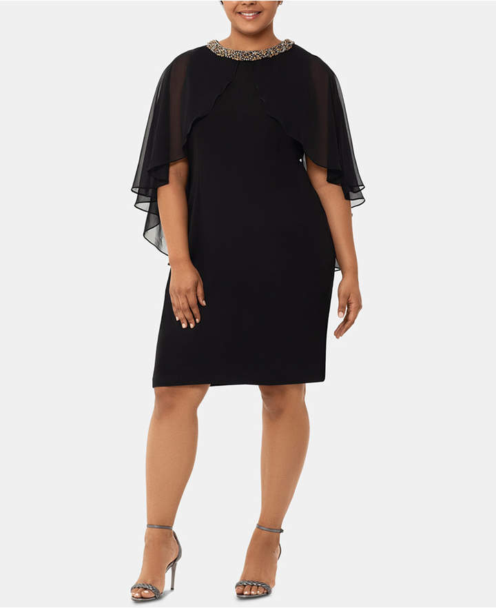 Xscape Evenings Plus Size Chiffon Capelet Dress