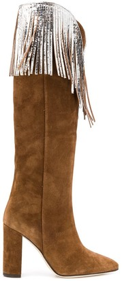 Paris Texas knee-high fringe Western boots