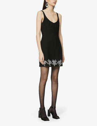 David Koma Beaded wool-blend mini dress