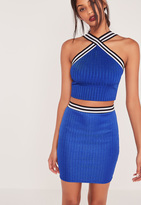 Missguided Ribbed Striped Waist Mini Skirt Cobalt Blue