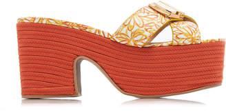 Jacquemus Tatanes Floral-Print Leather Platform Sandals