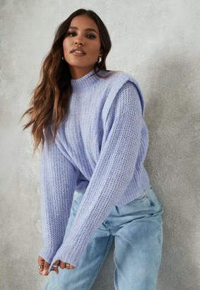Missguided Blue Shoulder Lip Knitted Jumper
