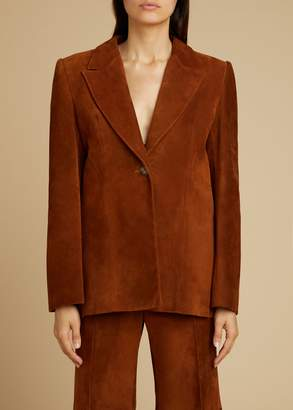 KHAITE The Erica Coat in Cocoa Suede