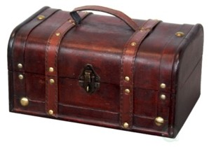Vintiquewise Decorative Vintage-Like Wood Treasure Box - Wooden Trunk Chest with Handle