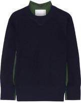 Sacai Poplin-paneled Wool Sweater - Midnight blue