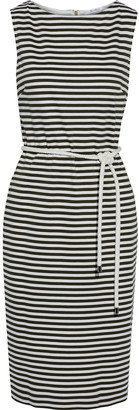 Max Mara Comica Belted Striped Stretch-jersey Dress