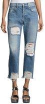 7 For All Mankind Josefina High-Waist Destroyed Jeans, Blue