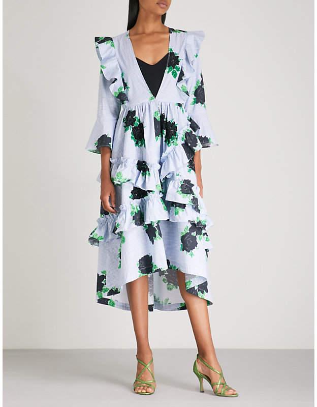 Ganni Pine floral-print ruffled cotton midi dress
