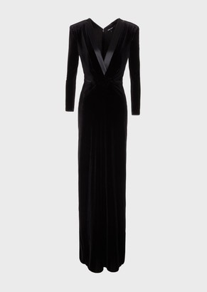 Giorgio Armani Long Chenille Dress With Plunging Neckline