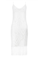 Quiz White Lace Fringe Hem Midi Dress