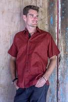 Men's Crimson Hand Stamped All Cotton Short Sleeved Shirt, 'Crimson Dragonfly'