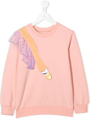 Wauw Capow By Bangbang Dreamy swan embellished sweatshirt