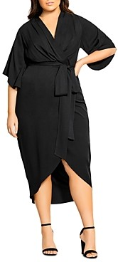 City Chic Plus Kimono-Sleeve Faux-Wrap Midi Dress