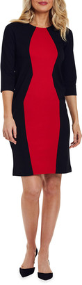 Joan Vass Colorblocked Semi-Fitted Ponte Dress