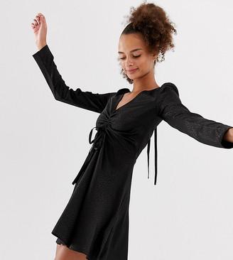Collusion COLLUSION mini ruched skater dress in leopard jacquard-Black