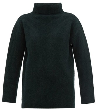 Jacquemus Agde Ribbed-knit Roll-neck Wool-blend Sweater - Womens - Dark Green