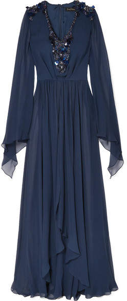 Jenny Packham Embellished Silk-chiffon Gown - Midnight blue
