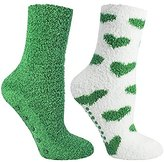 Vintage Home 2 Pair Fuzzy Chenille Socks Non-Skid Lavender Infused Green