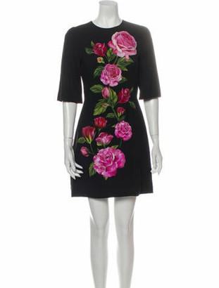 Dolce & Gabbana Floral Print Mini Dress w/ Tags Black