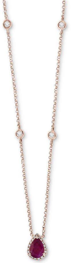 """Effy Certified Ruby (3/4 ct. t.w.) & Diamond (1/5 ct. t.w.) Teardrop Pendant Necklace in 14k Rose Gold, 18"""" + 2"""" extender"""