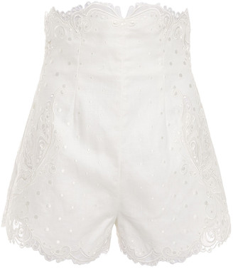 Zimmermann Embroidered Tulle And Linen Shorts