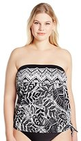 Maxine Of Hollywood Women's Plus-Size Tribal Beat Bandeau Blouson Tankini