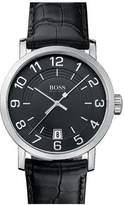 HUGO BOSS HB1512364 44 Stainless Steel Case Black Calfskin Mineral Men's Quartz Watch
