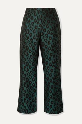 Anine Bing Cindy Leopard-jacquard Slim-leg Pants - Emerald