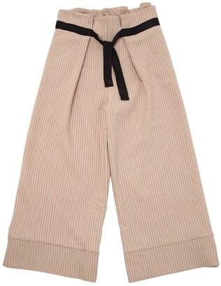 Wool Blend Pinstripe Pants W/ Belt
