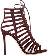 Gianvito Rossi WOMEN'S CAGED LACE-UP SANDALS-BURGUNDY SIZE 8