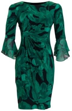 Connected Petite Ruffled-Sleeve Sheath Dress