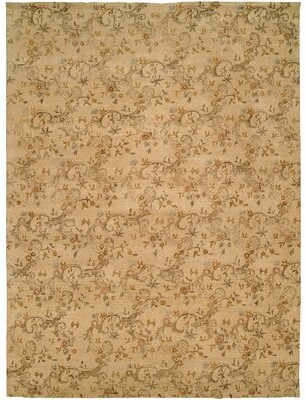 Wildon Home Salman Floral Hand Knotted Wool Beige Area Rug Rug Size: Rectangle 6' x 9'