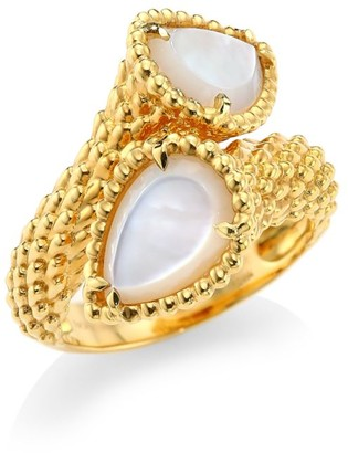 Boucheron Serpent Boheme 18K Yellow Gold & Mother-Of-Pearl Two-Stone Ring
