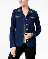 Alfred Dunner Montego Bay Studded Embroidered Denim Jacket