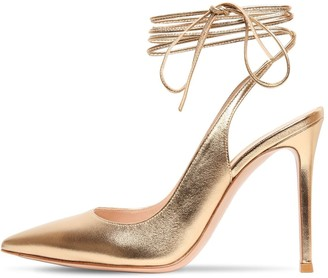 Gianvito Rossi 105mm Metallic Leather Lace-Up Pumps