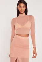 Missguided Carli Bybel Airtex Mesh Crop Top Pink