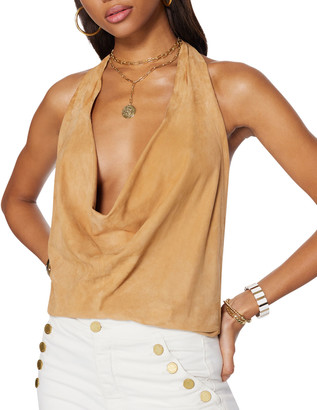 Ramy Brook Melli Leather Halter Top