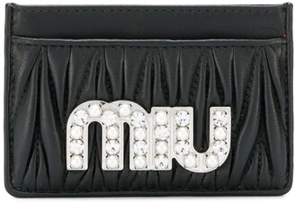 Miu Miu Embellished Matelasse Card Holder
