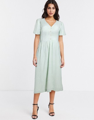 And other stories & floral angel sleeve button detail midi dress in sage green