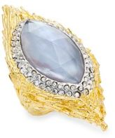 Alexis Bittar Elements Iolite, Mother-Of-Pearl & Crystal Pavé Marquis Feather Ring