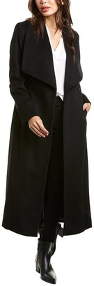 Cole Haan Tie-Waist Wool-Blend Wrap Coat