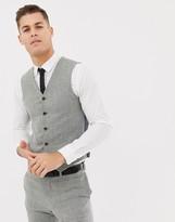 Hatch Asos Design ASOS DESIGN wedding skinny suit vest in gray cross
