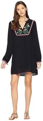 BB Dakota Tambourine Dream Embroidered Crinkle Rayon Dress (Black) Women's Dress