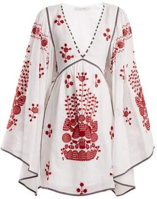 Vita Kin - Peacock Floral-embroidered Linen Dress - Womens - White Multi