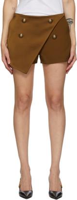Balmain Brown Four-Button Shorts